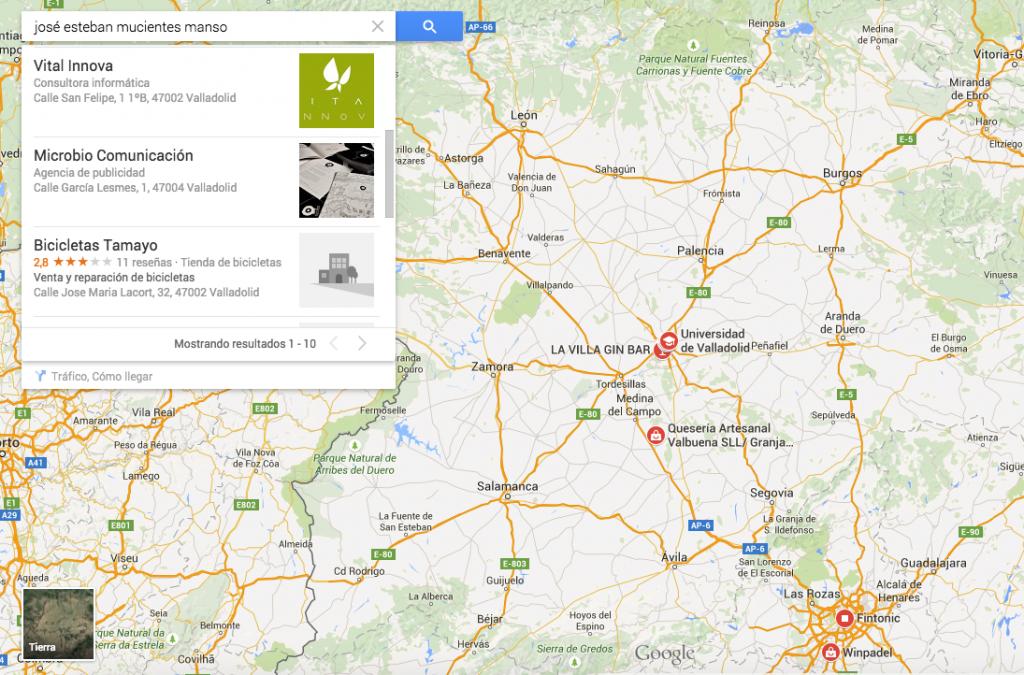Búsquedas en Google Maps