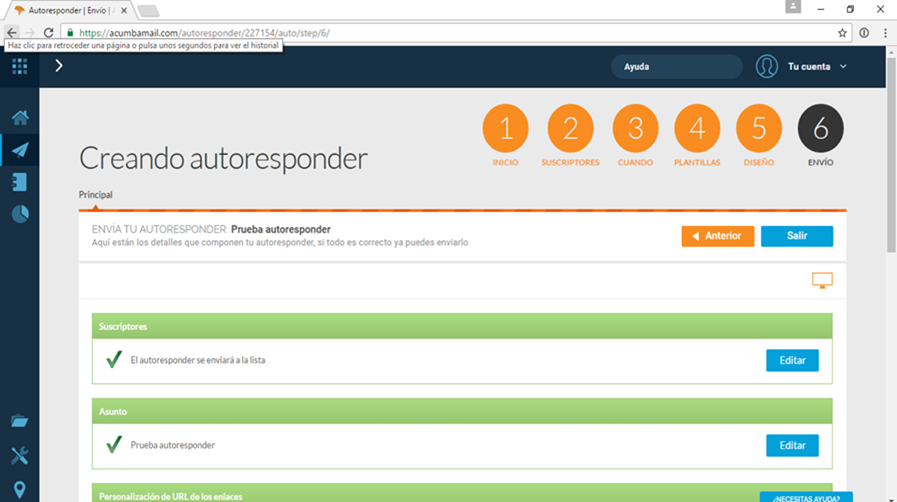 autoresponder email marketing paso 6