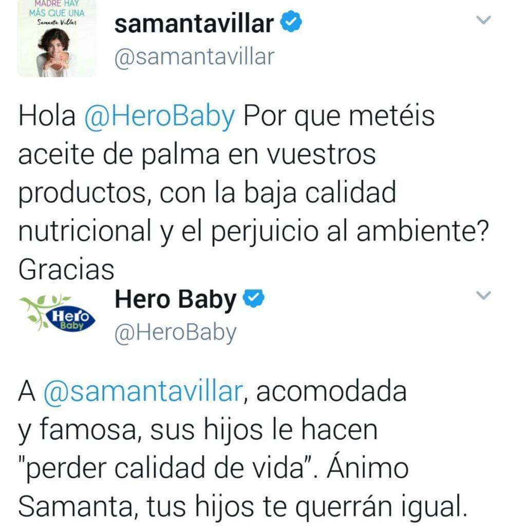 captura de pantalla de una pelea entre samanta villar y hero baby por twitter lo que generó en una crisis de reputación online para la empresa