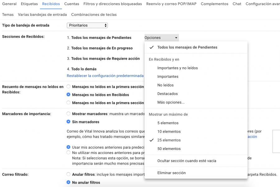 Configuración Prioritarios - GTD Gmail