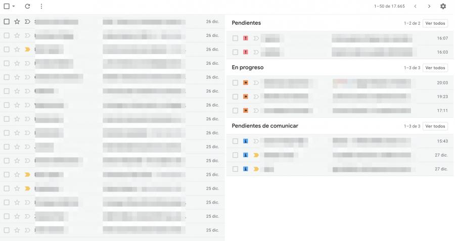 Varias bandejas de Gmail con estrellas - GTD Gmail