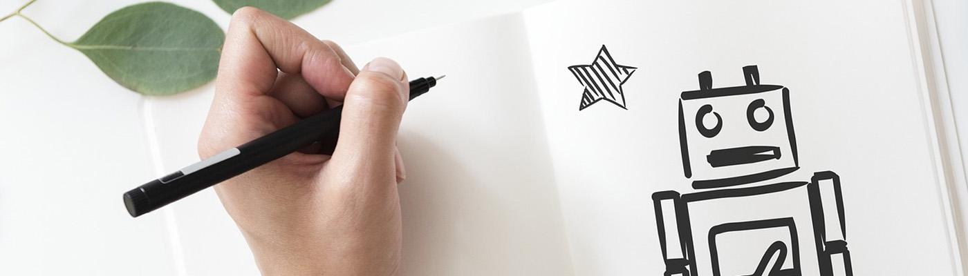 Dibujo de robot con rotulador