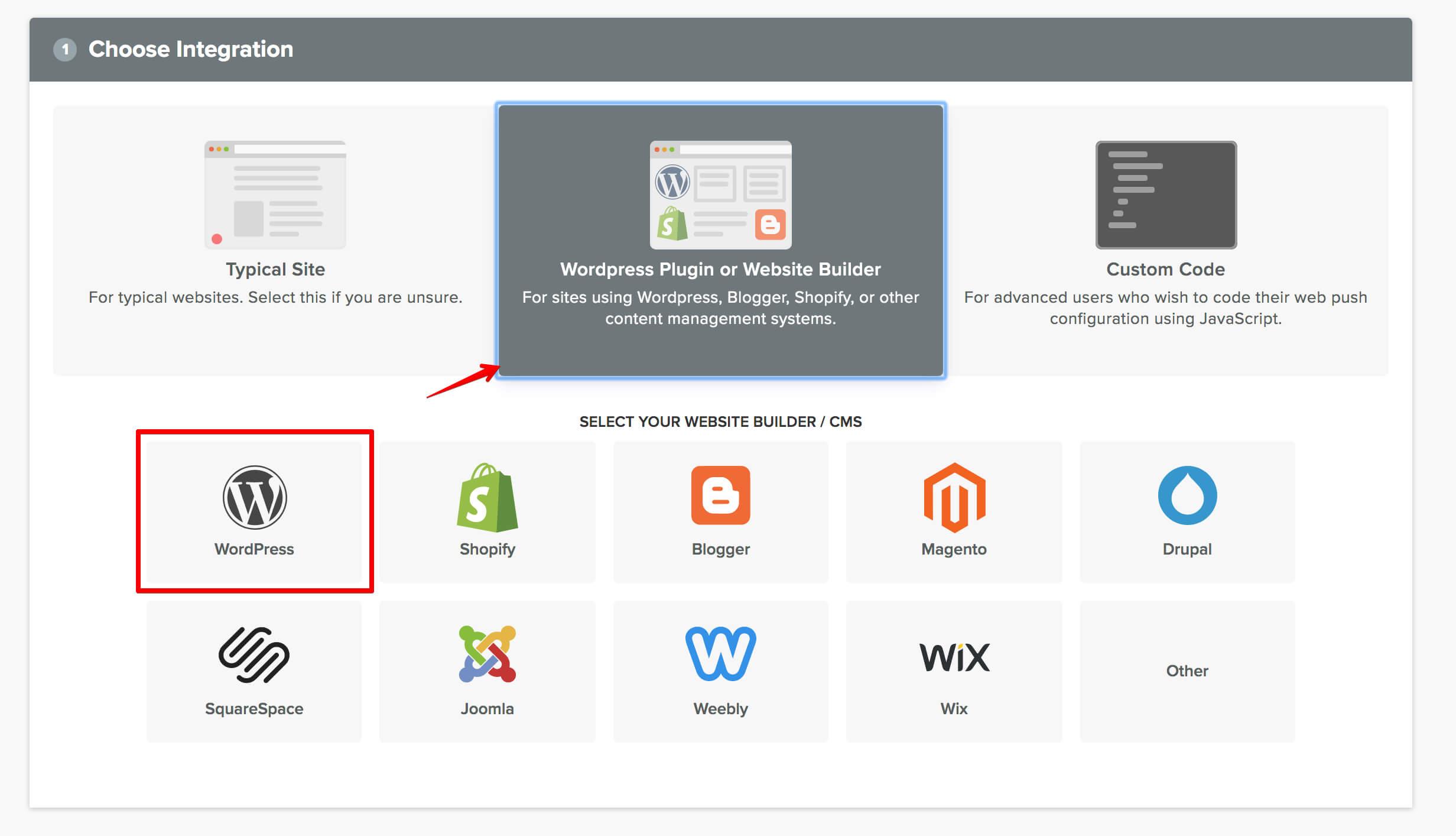 imagen de selección de integración con wordpress para las notificaciones push