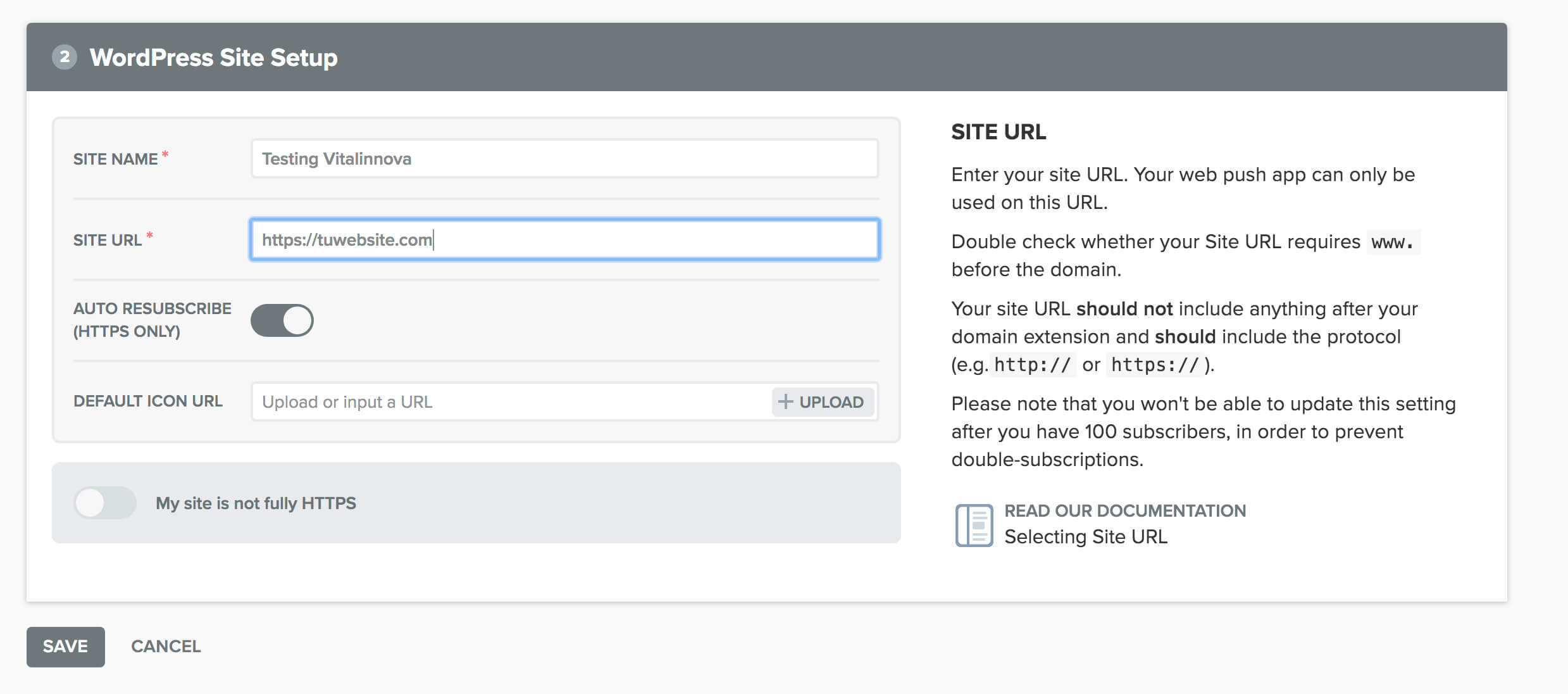 imagen de configuración de nuestra web y del icono que aparecerá en ella