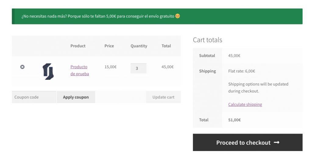 Aviso en el carrito de la compra con el importe que falta hasta el envío gratuito