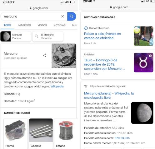 captura de pantalla de búsqueda genérica mercurio