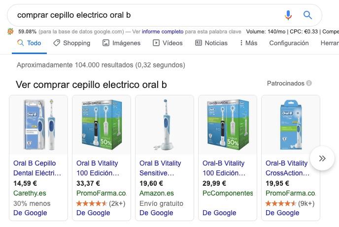 captura de pantalla para la intención de búsqueda transaccional