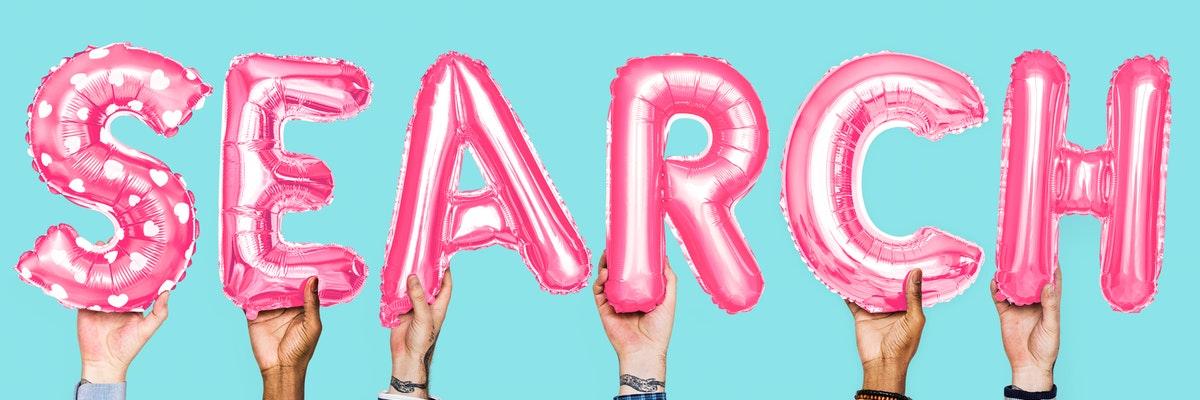 imagen de globos que forman la palabra search