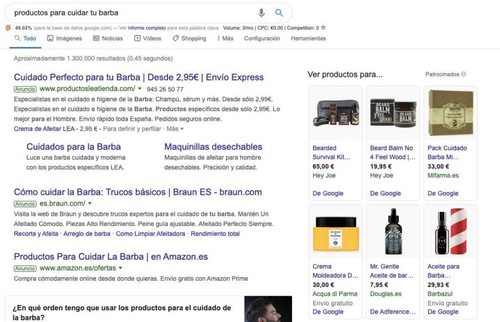captura de pantalla de la intención de búsqueda de productos para cuidar tu barba
