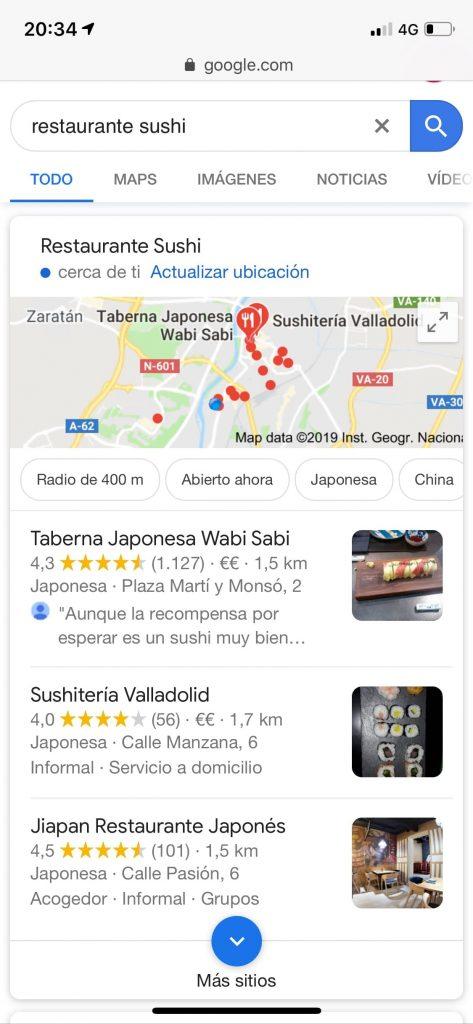 captura de pantalla en móvil para restaurante sushi