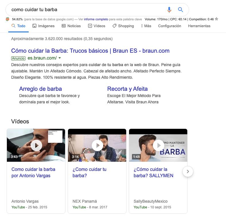 captura de pantalla de resultados de google para la intención de búsqueda de como cuidar tu barba