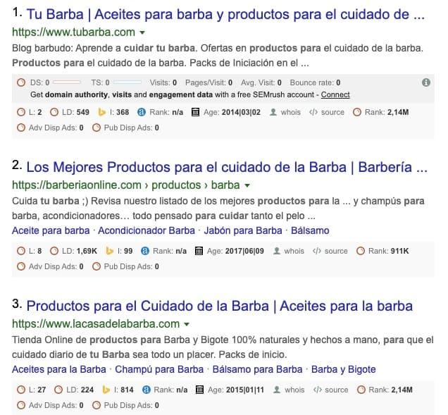 captura de pantalla de resultados orgánicos para la intención de búsqueda de productos para cuidar tu barba