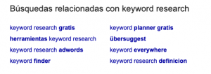 captura de búsquedas relacionadas para keyword research