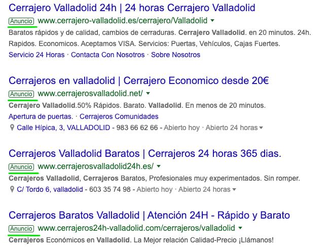 ejemplos de anuncios de la red de búsqueda en las serps de google