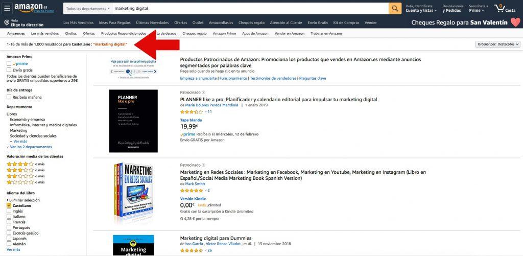 Búsqueda de la palabra clave marketing digital en Amazon en castellano