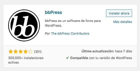 imagen del plugin para instalar el plugin de bbpress para wordpress